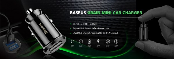 TVC Mall Launched BASEUS Grain Smart Car Charger Compatible with iPhone and Samsung Devices 5