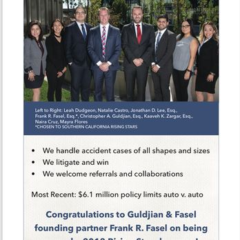 Guldjian Fasel Accident Attorneys Named Top Law Firm in Southern California 11