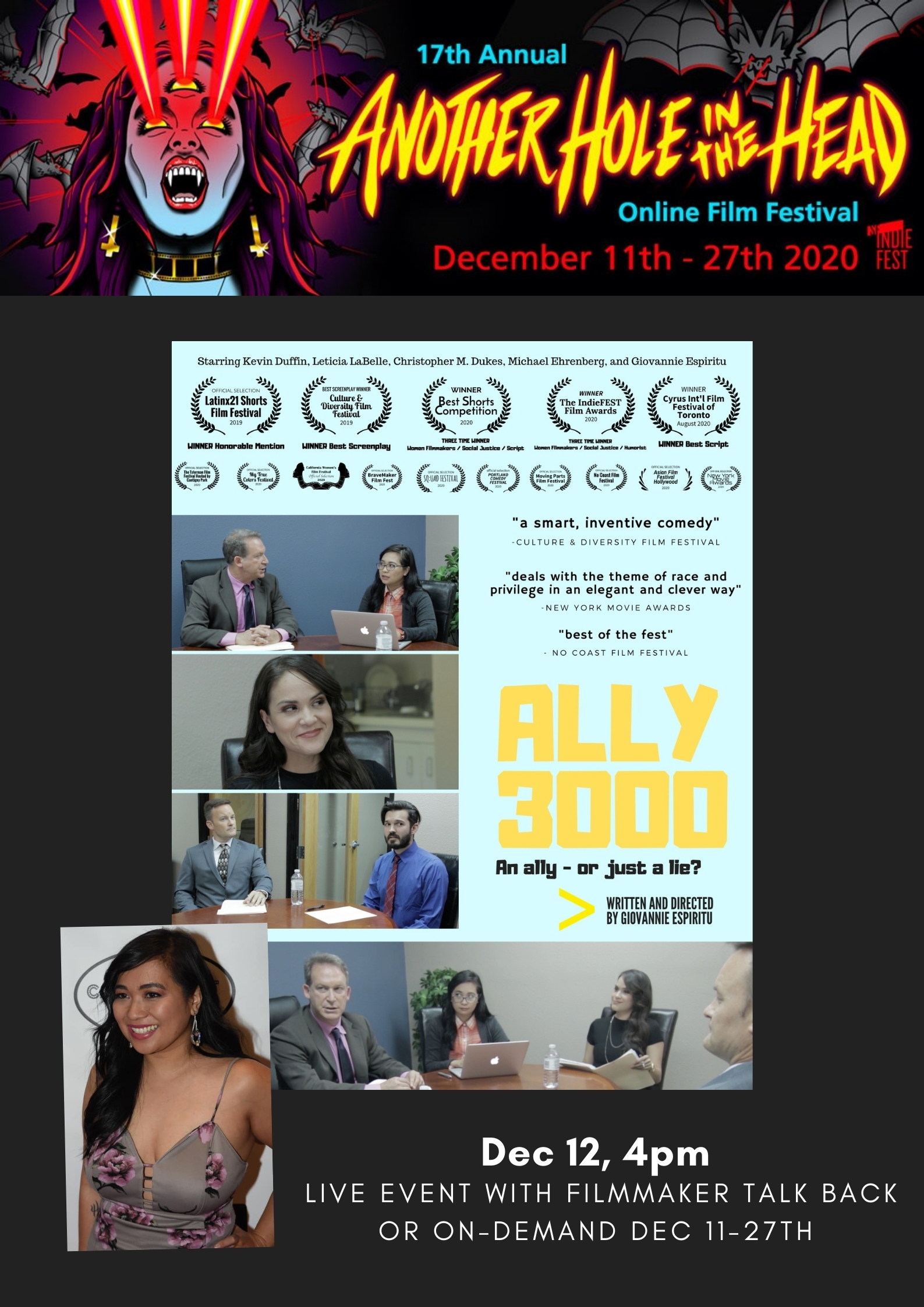 """Filipina filmmaker Giovannie Espiritu returns to the """"Another Hole in the Head"""" Bay Area film festival with her satirical film on race and privilege ALLY 3000 1"""