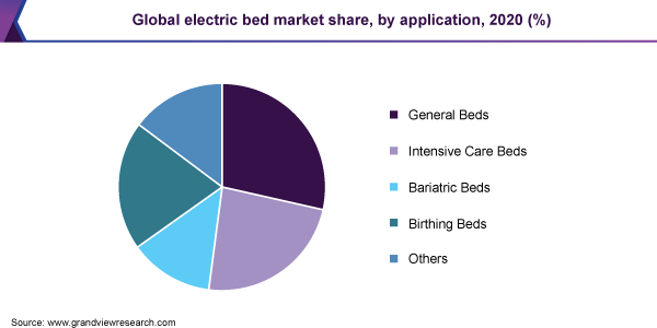 Global electric bed market share, by application, 2020 (%)