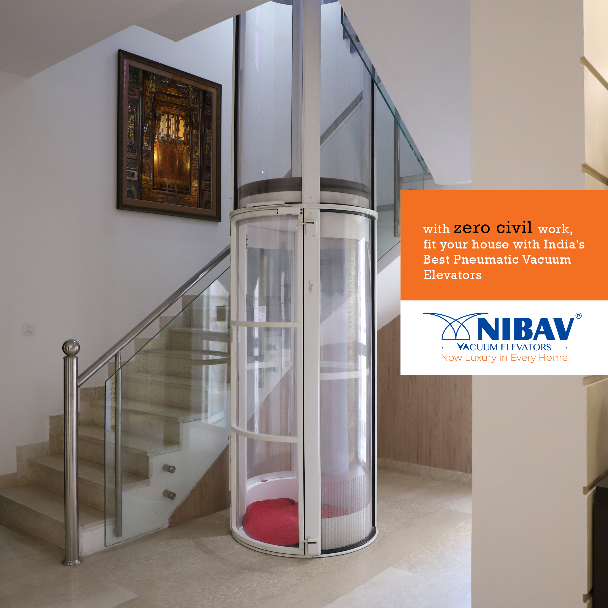 Nibav Lifts Now Offers Unique Unbreakable Glass Vacuum Elevators with Vastu Compliance to Homeowners in India 1