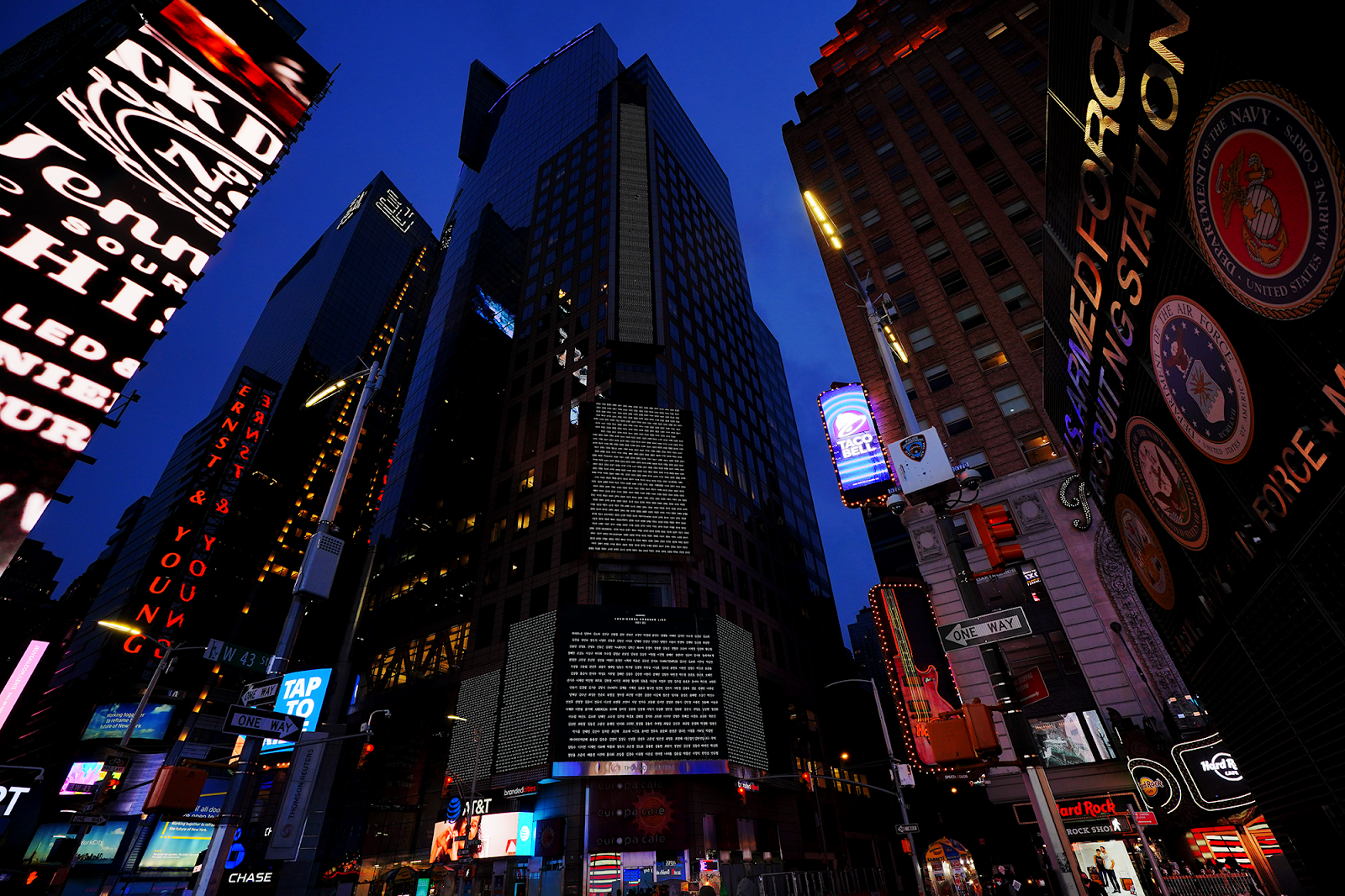 The Names of Many Koreans lit up New York Times Square 1