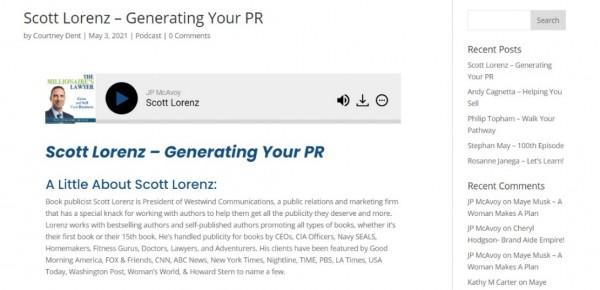 'Millionaire's Lawyer' JP McAvoy Interviews Book Publicist Scott Lorenz on 'Generating Your PR' 2