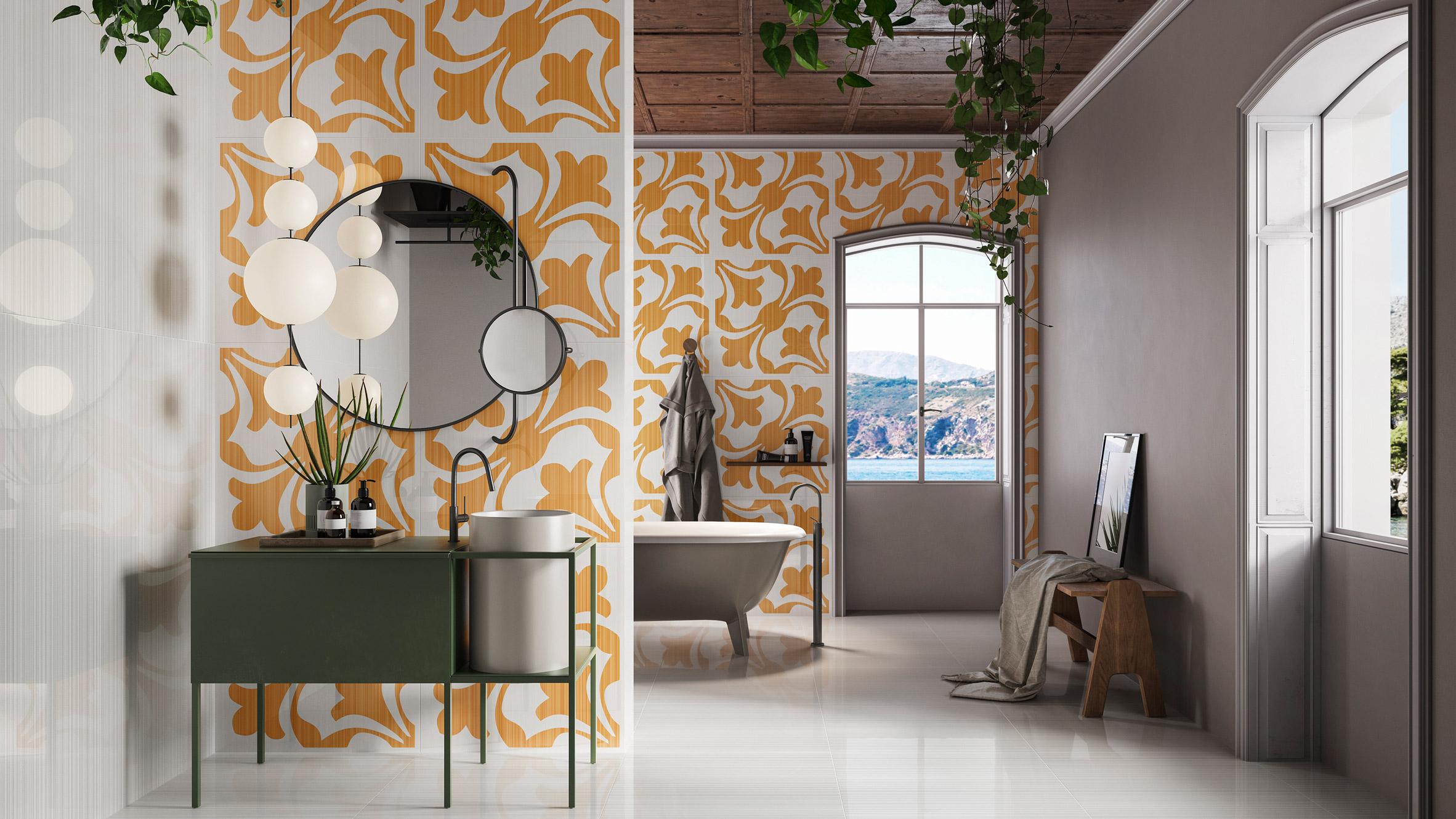 Ceramiche Refin references the Mediterranean design in Riflessi tiles 1